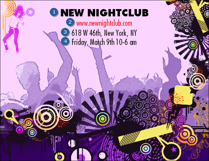 Nightclub Purple Invitation