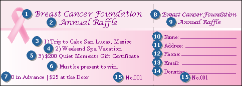 pink ribbon raffle ticket 002 ticketriver. Black Bedroom Furniture Sets. Home Design Ideas