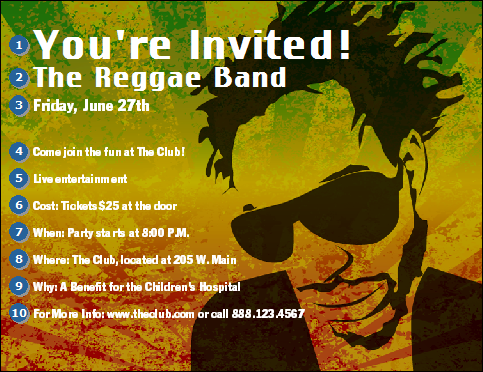 Reggae Party Invitations images – Jamaican Party Invitations