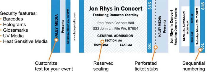 Event ticket with text customization, perforation and sequential numbering