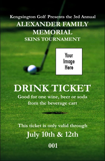 Golf Photo Drink Ticket Product Front