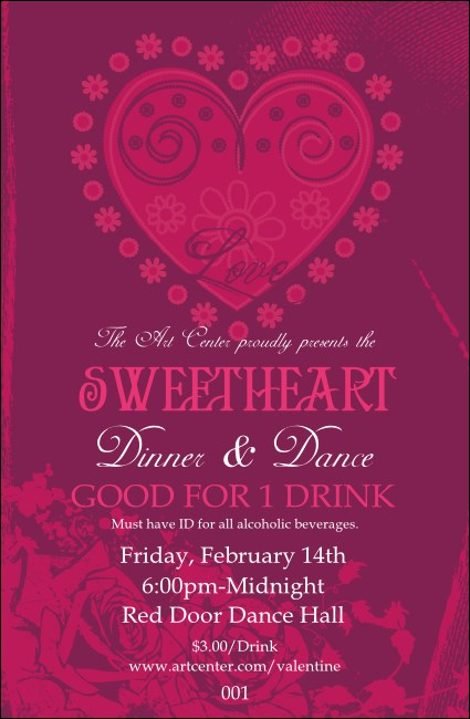 Valentine Heart Drink Ticket
