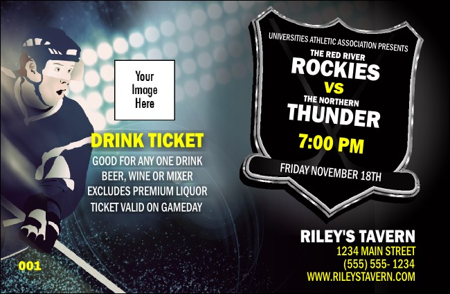 Hockey Badge Blue Drink Ticket