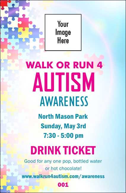 Autism Awareness Drink Ticket Product Front