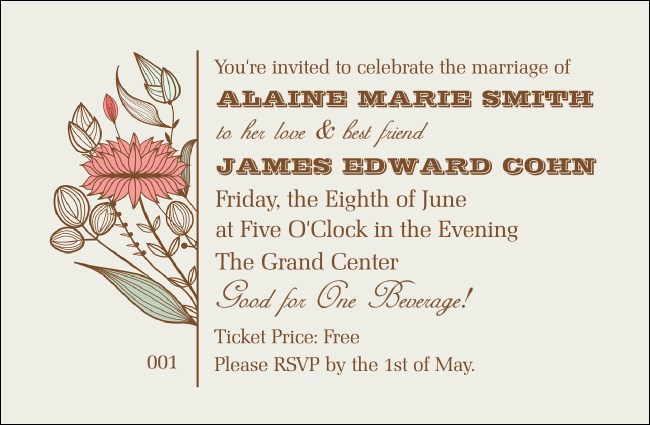 Wedding Flower Motif Drink Ticket Product Front