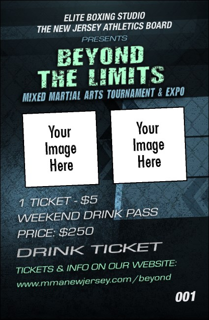 MMA Main Event Blue Drink Ticket  Product Front