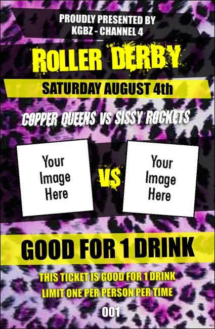Roller Derby Pink Leopard Drink Ticket
