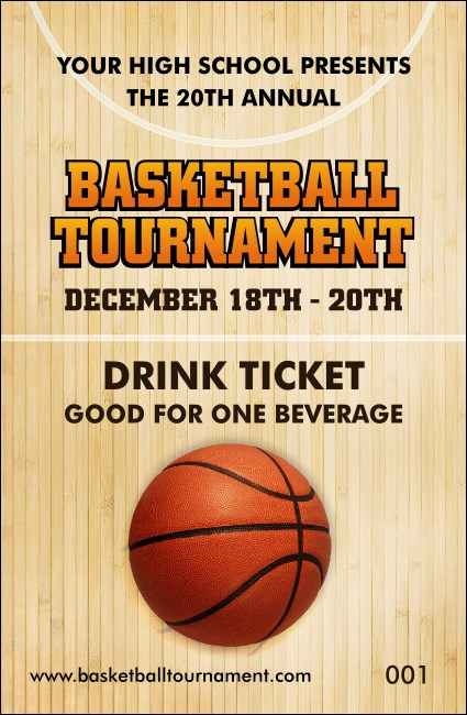 Basketball Court Drink Ticket Product Front