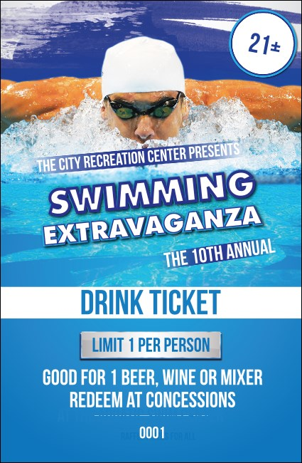 Swimming Drink Ticket Product Front