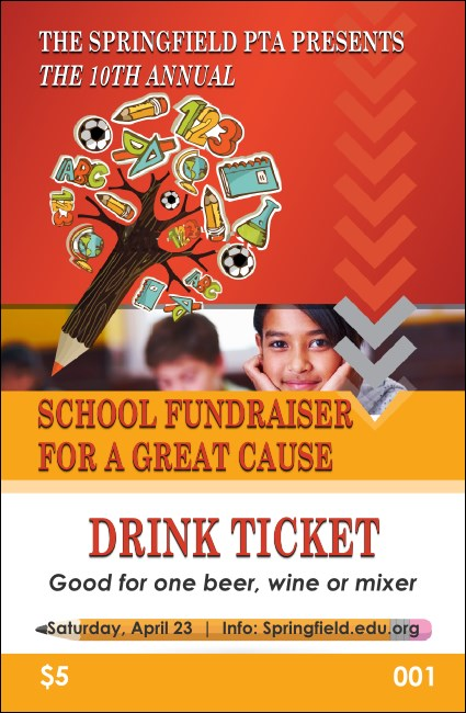 Fundraiser for Education Drink Ticket Product Front