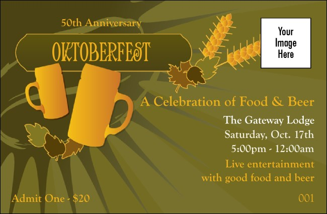 Oktoberfest Green Drink Ticket Product Front