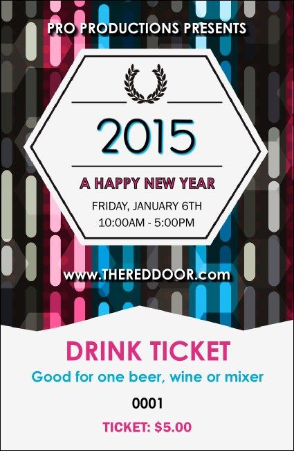 Year Neon Lights Drink Ticket Product Front