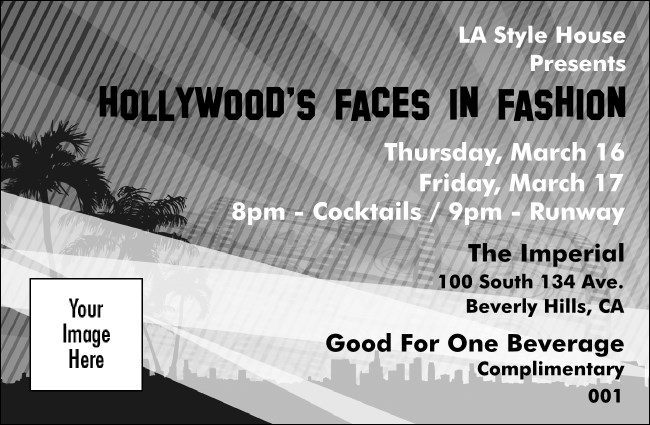 Hollywood Drink Ticket (Black and white) Product Front