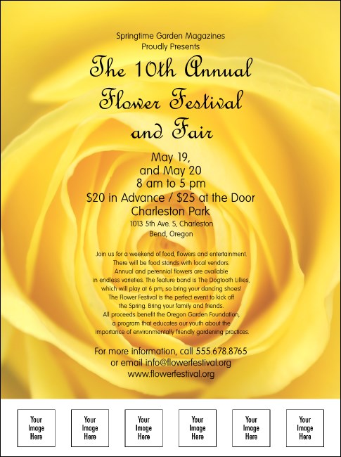 Yellow Rose Flyer with Image Upload
