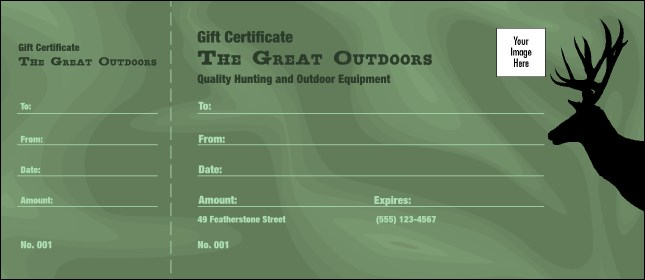 Great Outdoors Gift Certificate - Numbered gift certificate template