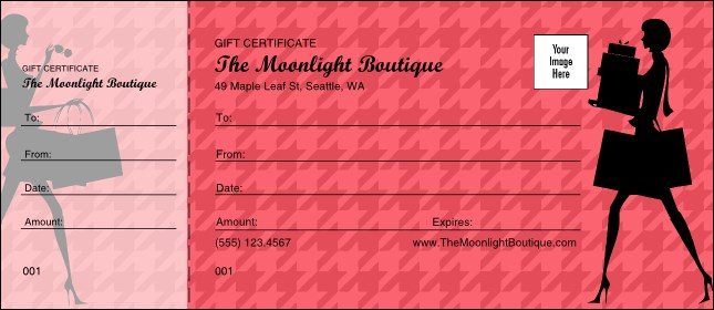 red shopping gift certificate