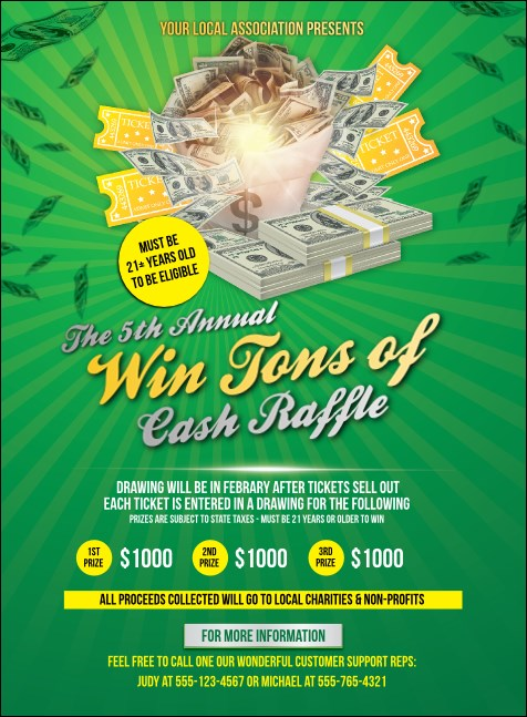 Cash Raffle Green Invitation