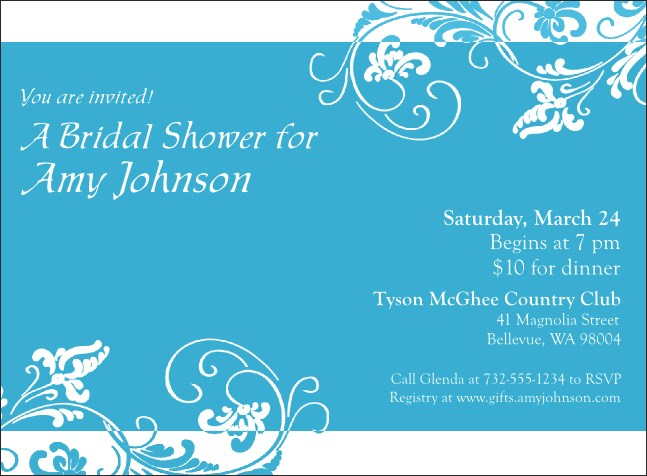 Blue Flowers Invitation