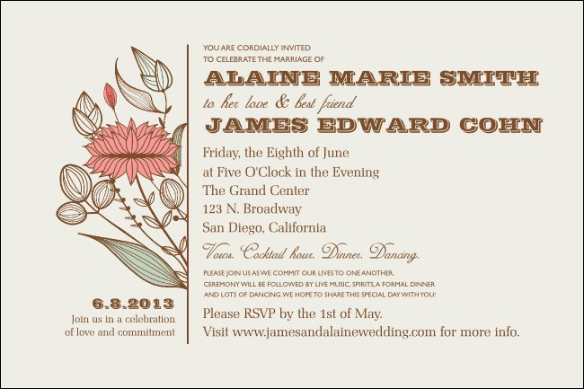 Wedding Flower Motif Poster