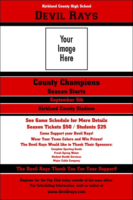 Sports Poster 001 in Red and Black