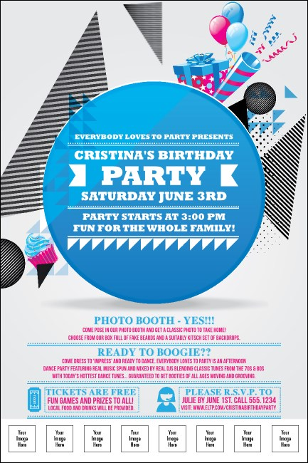 Birthday Party Geometric Logo Poster