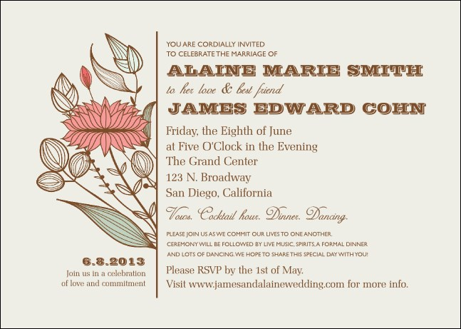 Wedding Flower Motif Postcard