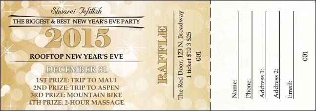 gold glitter raffle ticket
