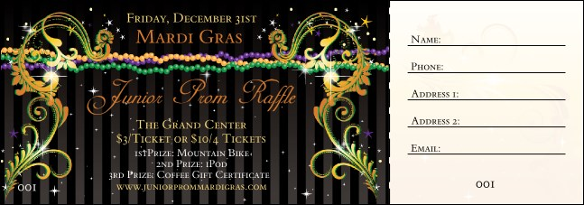 Mardi Gras Beads Raffle Ticket