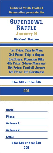 Sports Raffle Ticket 002 in Blue and Gold Product Front