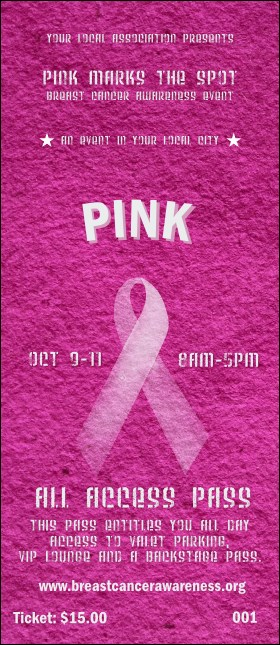 Breast Cancer Pink Ribbon VIP Pass