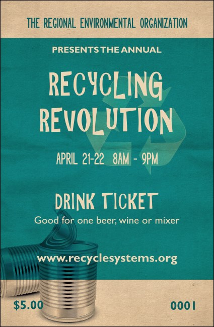 Recycling Symbol Drink Ticket