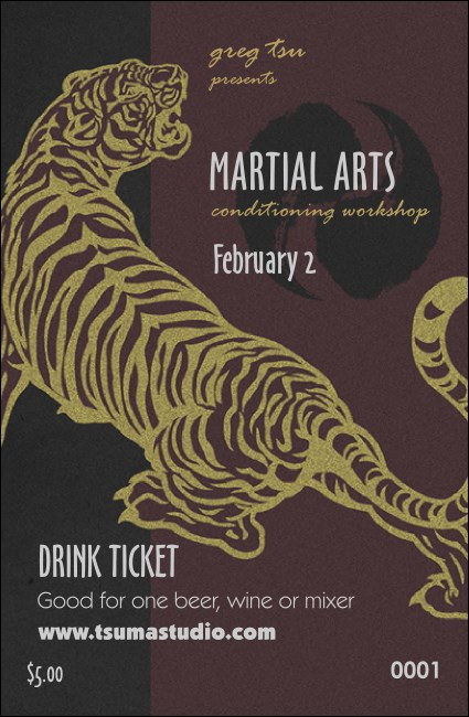 Martial Arts Drink Ticket Product Front