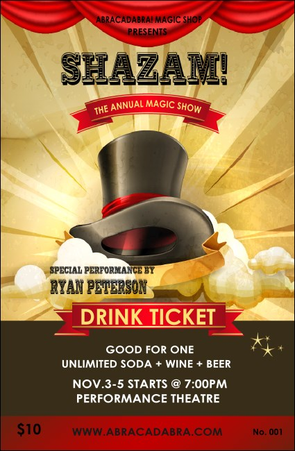Magic Show Drink Ticket Product Front