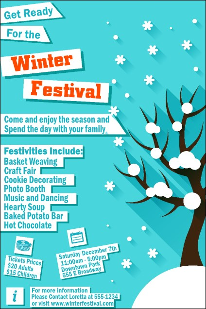 Winter Cut Paper Poster
