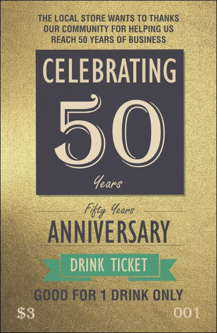 50th Anniversary Drink Ticket Product Front