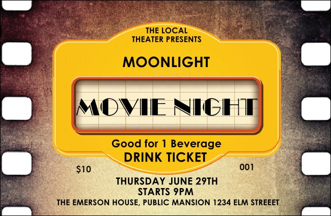 Movie Strip Drink Ticket Product Front