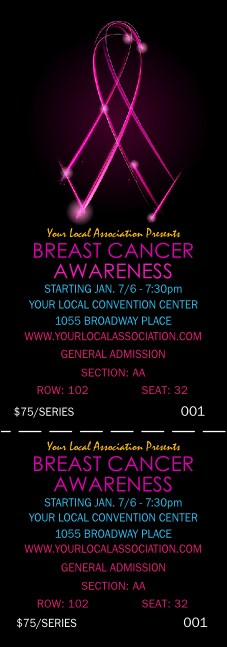 Breast Cancer Ribbon Sparkle Reserved Event Ticket