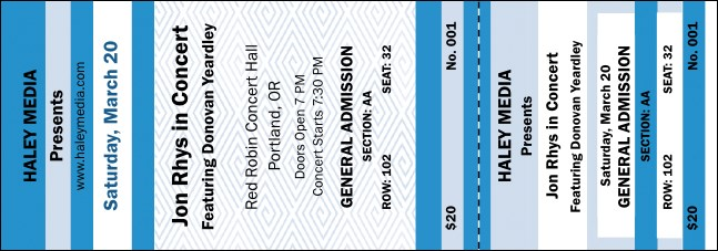 Blue Two-Tone Reserved Event Ticket
