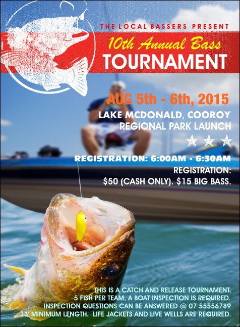 Bass Fishing Tournament Invitation